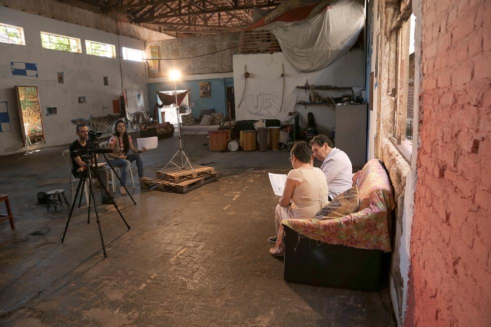 Bastidores das filmagens da entrevista com Otássio Pereira da Silva, presidente da Ules na década de 1950-60