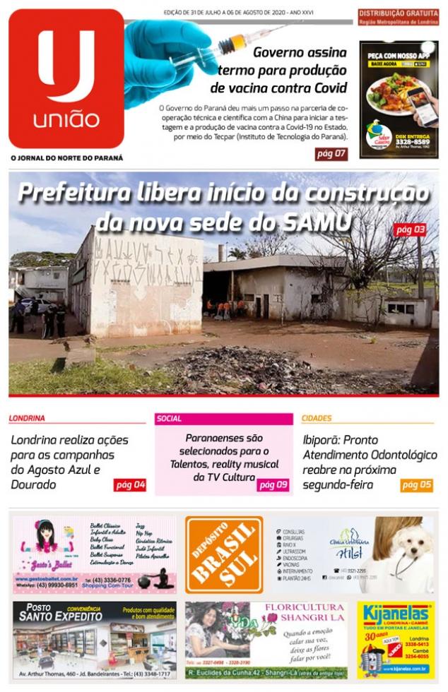 Capa do Jornal União Edição Nº 00537