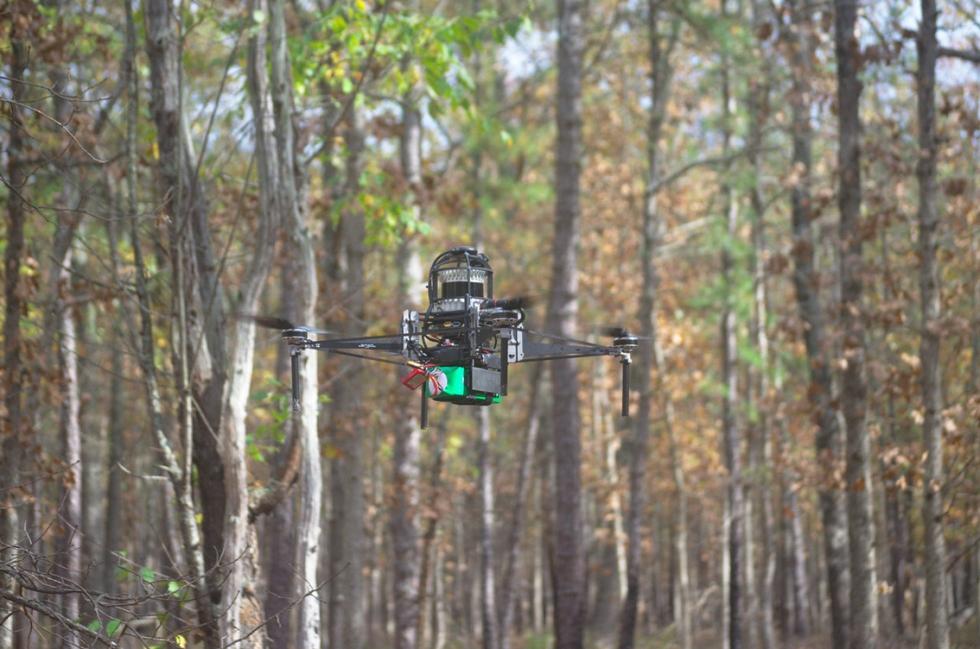 Vant mapeia grandes áreas florestais em minutos. Foto: Universidade da Pensilvânia