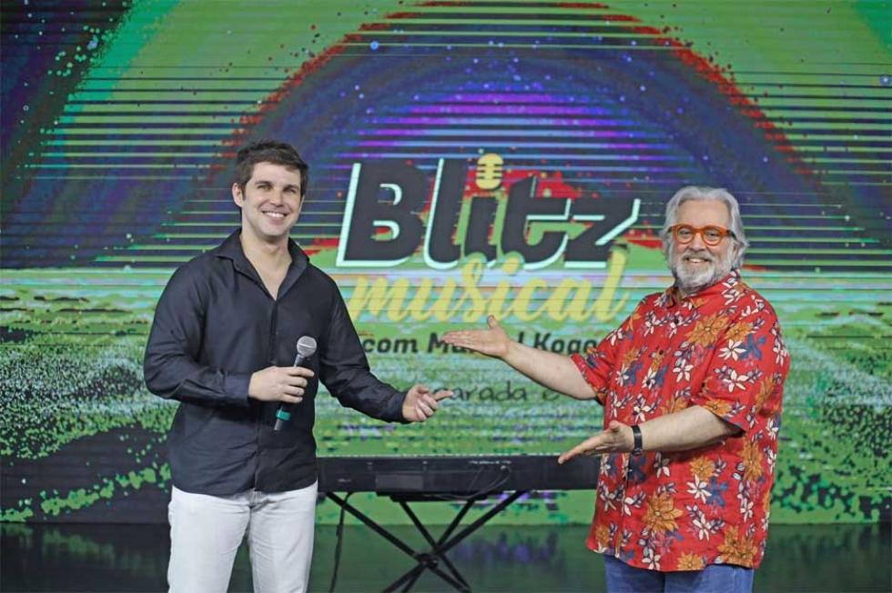 Marcel Kogos e Leão Lobo na estreia do Programa Blitz Musical